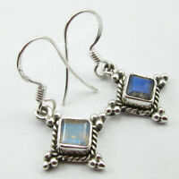 925 Sterling Silver Ladies Jewelry Natural Square Labradorite Dangle Earrings