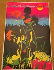 Vintage Blacklight Poster Psychedelic Pin-up Frog Lily Pond Flowers 1972 Child