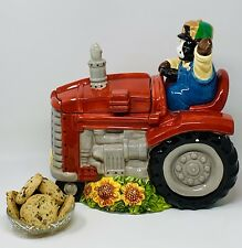 Large Cookie Jar Waving Cow Overalls On A Red Tractor Sunflowers Ceramic SO CUTE