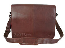 "MUDD BROWN LEATHER 14"" A4 LAPTOP BUSINESS MESSENGER BAG RRP £129.99 NOW £89.99 !"