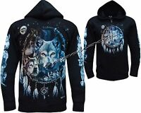 Wolf Dream Catcher Wolves Native American Indian Zip Zipped Hoodie Hoody Jacket