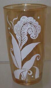 "Jeannette Glass JEG13 Marigold Tumbler White Feather/Plume 5¼""  10  oz Carnival"