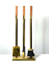 Vintage Mid Century Modern Contemporary Brass Fireplace Tools Alessandro Style