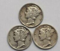 Mercury Dimes - 1945 P,D,S - Lot of 3 - 90% Silver Mercury Dimes