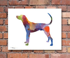 Plott Hound Watercolor Painting Art Print by Artist Djr