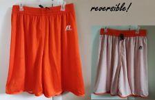 "NEW 2 PRS Men's XL ORANGE Russell Reversible Basketball  9"" Gym Shorts 34-38"""