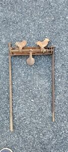 Antique Cast Iron Double Rooster Shooting Gallery Target with Old Paint.