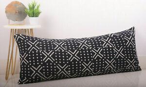 Handloom Cotton Body Support Pillow Cover Mudcloth Block Print Lumbar Pillowcase