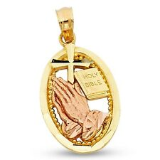 Cross Bible & Prayer Pendant Solid 14k Yellow & Rose Gold Oval Religious Charm