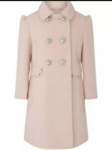 Monsoon Scallop trim double-breasted coat pink 7-8 Yrs Heigh 122-128 Cm