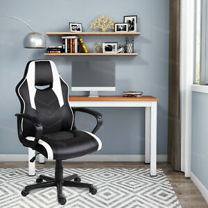 Computer PC Desk Chair Gaming Chair Racing Office Chair Swivel ChairBlack&White