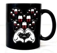 Rare Disney Mickey Mouse Loves Wine Black Coffee Cup Mug