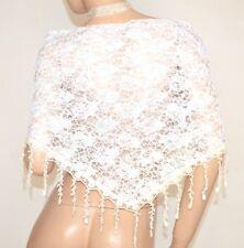 ÉTOLE foulard femme blanc beige châle dentelle brodé écharpe élégant scarf  E150 f542d71607b