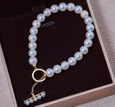 "7.5-8"" Charming AAA 5-6mm real natural Akoya white round pearl bracelet 18k Gold"
