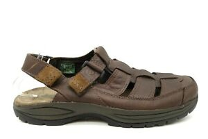 Dunham Brown Leather Casual Slip On Adjustable Fisherman Sandals Shoes Mens 12 B