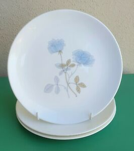 SET OF 3 VINTAGE WEDGWOOD ICE ROSE BLUE 27cm DINNER PLATES MADE IN ENGLAND