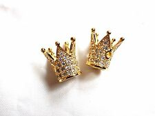2 x Brass Micro Pave Cubic Zirconia Crown Beads 12.2 x 10.3mm