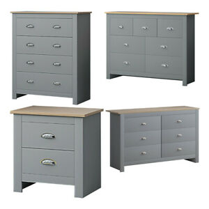 Traditional Grey Bedroom Furniture. Cup Handles. Chests of Drawers.