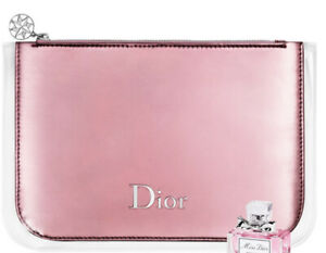 Dior metallic pink pouch patent cosmetic makeup case toiletry bag clutch pouch