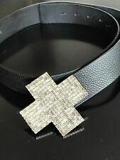 """Designer Ledergürtel von """"Elégance Paris"""" mit Strass Schnalle schwarz Gr. 85 cm"""