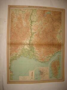 FINE ANTIQUE 1922 SOUTH SOUTHERN FRANCE MARSEILLE CORSICA MAP WINE INTEREST AREA