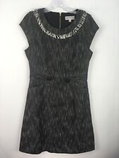 Nanette Lepore Dress 8 Black White Fringe Lined Fitted Cap Sleeve Pockets Tweed