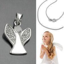 Baby Taufe  Kinder Schutz Engel Anhänger Zirkonia Steine mit Kette Silber 925