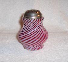 Cranberry Swirl Opalescent Glass Sugar Shaker Fenton Art Glass For L. G. Wright