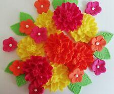 Bright pink orange yellow flower bouquet Edible sugar paste flowers cupcakes