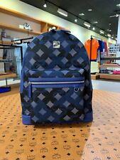 New MCM $765 Dieter Munich Lion Camo Estate Blue Nylon Medium Backpack Bag