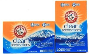 2 Box Arm & Hammer Clean Sensations Purifying Waters Scented Dryer Sheets 100ct