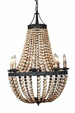 8-light Large Antique Bronze & Natural  Wood beads Beaded Elena Chandelier - New