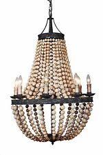 8-light Large Antique Bronze & Natural  Wood beads Beaded Elena Chandelier - New