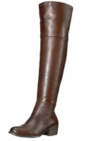 Vince Camuto Boots Bestan Grommet Over-The-Knee Low Heel Carob Leather 6.5M