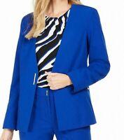 Calvin Klein Women's Jacket Cobalt Blue Size 4 Hardware Collarless $139 #295