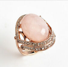 Genuine Rose Gold Rose Quartz Engagement Eternity Ring size 9