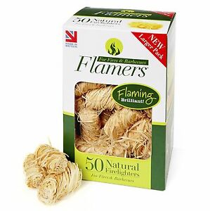 Flamers 50 Natural Firelighters For Open Fires, Wood/Multi Stoves and Barbecues