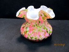 FENTON VASA MURRHINA ROSE & GREEN ADVENTURINE ROSE BOWL VASE 1960'S COLLECTIBLE