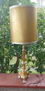 Vintage Mid Century GIM gilded metal 40 in lamp original shade
