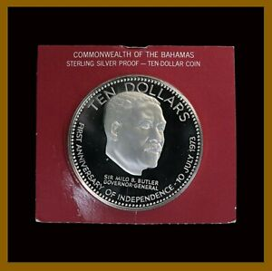 Bahamas 10 Dollars Silver Coin, 1973 KM# 68a Anniversary of Independence Unc COA