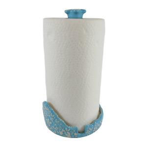 Temptations by Tara Floral Lace Light Blue Ceramic Paper Towel Holder EUC