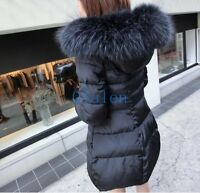 New Womens Faux Fur Hooded Winter Slim Fit Parka Puffer Coats Jackets Thicken