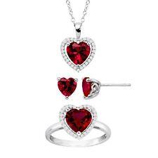Creado Ruby & Blanco Zafiro Colgante de corazón, pendiente de plata esterlina & Anillo Conjunto,