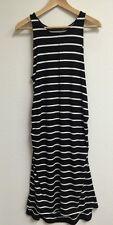 Liz Lange Maternity Black White  Stripe Dress Medium Knee Length sleeve Less New