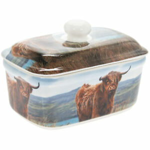 Highland Cow Fine China Ceramic Butter Dish with Bell Top Lid Dishwasher Safe