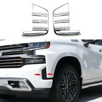 For 2019-2021 Chevy Silverado 1500 Chrome Front Fog Light Cover Trim Bezel