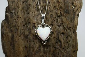 925 STERLING SILVER WHITE OPAL GEMSTONE HEART NECKLACE TRIPLE COLOUR