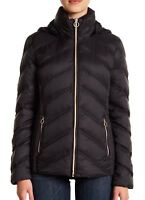 MICHAEL Michael Kors Womens Packable Quilted Chevron Puffer Down Jacket Black