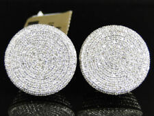 Mens Womens 10K Yellow Gold Over 1.60 Ct Diamond Pave Circle Round Stud Earrings