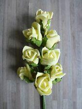 8 x Rose Foamrose Schaumrose Strauß Kunstblume 25 cm gelb creme DEFLO0178 F56